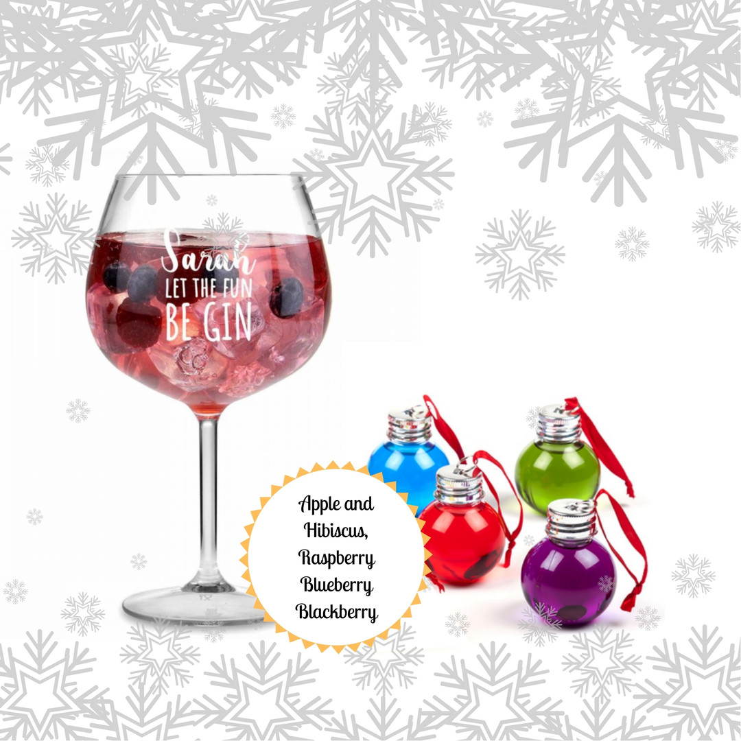 Gin Liqueur Baubles and Personalised Gin Glass