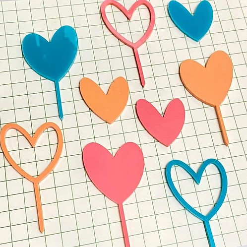9 Piece Acrylic Plastic Heart Shape Cupcake Toppers