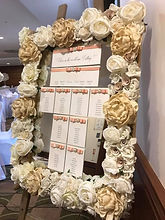 Large Floral Mirror Table Plan - Ivory Flowers.