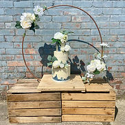 Copper Hoop Cake Stand With Artificial Flowers and Foliage