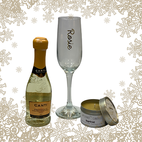 Prosecco and Personalised Glass and Gingerbread Candle Gift Set