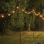 This 2.4m festoon pole is the perfect solution to hanging your festoon lights at height. Festoons displayed along poles, in a draped style, create a stunning visual effect at all outdoor events, and look especially impressive when used at weddings to welcome and guide guests along walkways and pathways.