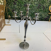 5 Arm Silver Aluminium Finish Decorative Candelabra - 65cm