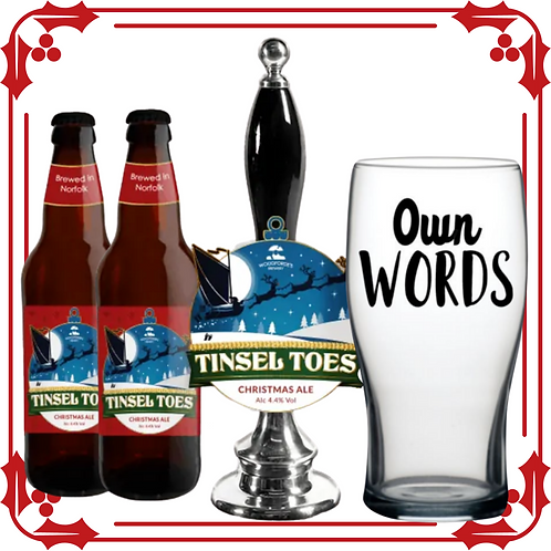 Tinsel Toes Christmas Ale Personalised Glass Gift Set