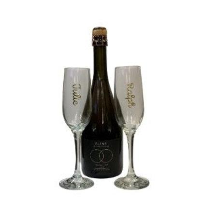 Flint Vineyard Charmat Rosé 2019 and Personalised Glasses Gift Set