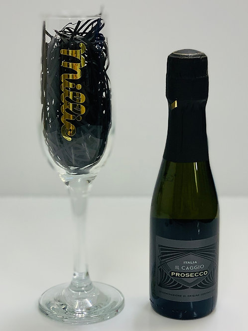 Prosecco and Personalised Glass Gift Set