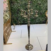 5 Arm Silver Aluminium Finish Decorative Candelabra - 124cm