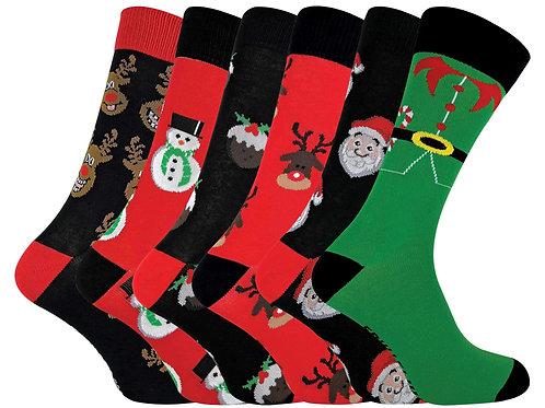 6 Pairs Mens Cotton Christmas Socks