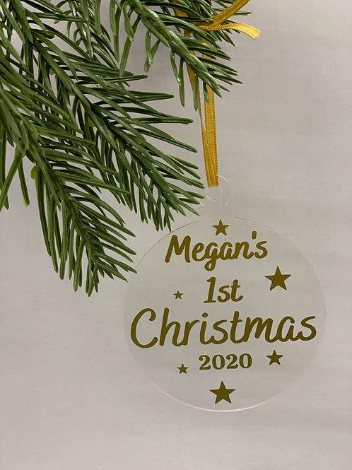 Personalised Christmas Acrylic Flat Bauble