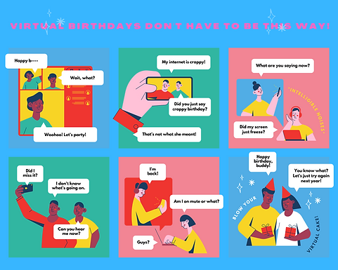 Colorful Illustrated Virtual Birthday 6