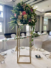Gold Metal Rectangle Flower Stand Table Pedestal 100cm