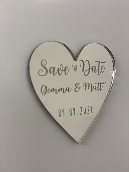 Personalised Save The Date Magnet Mirror Acrylic