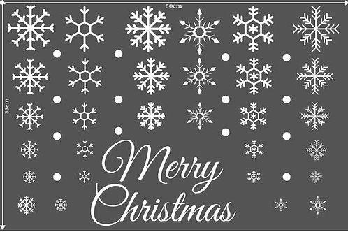 White Merry Christmas Snowflake Vinyl Home Window Store Wall Stickers