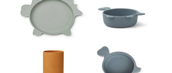 Liewood - Cyrus Silicone Tableware 3 pack - Junior - Dove Blue multi mix