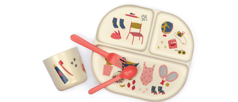 Kids Dinner Set - Illustrated - Coral