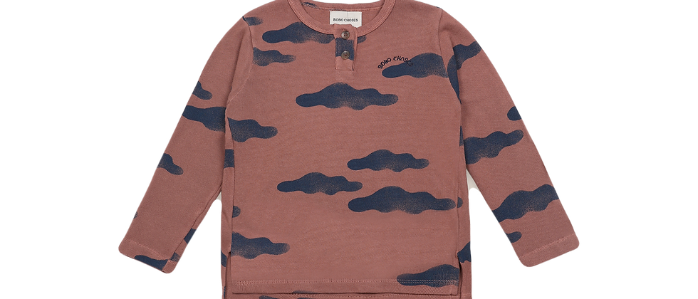 Bobo Choses-Clouds All Over Buttoned T-Shirt