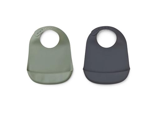 Liewood - Tilda Silicone Bib 2 Pack - Faune green/stone grey