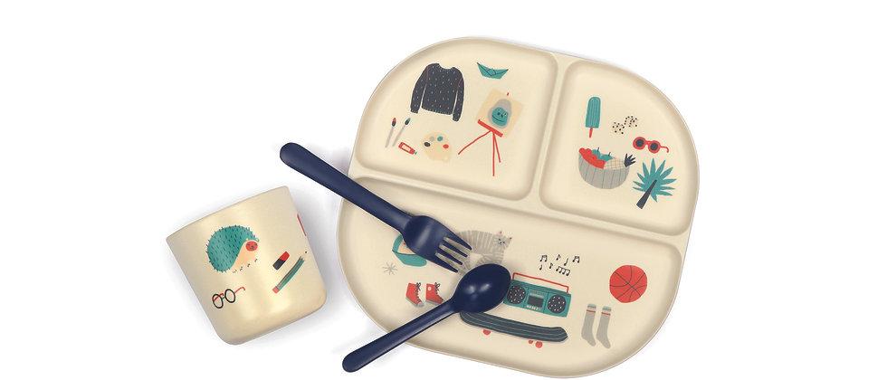 Kids Dinner Set - Illustrated - Royal Blue