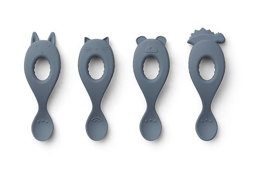 Liva Silicone Spoon - 4 Pack - Blue Wave