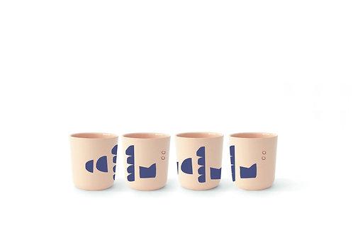 Blue Series Medium Cup Set of 4