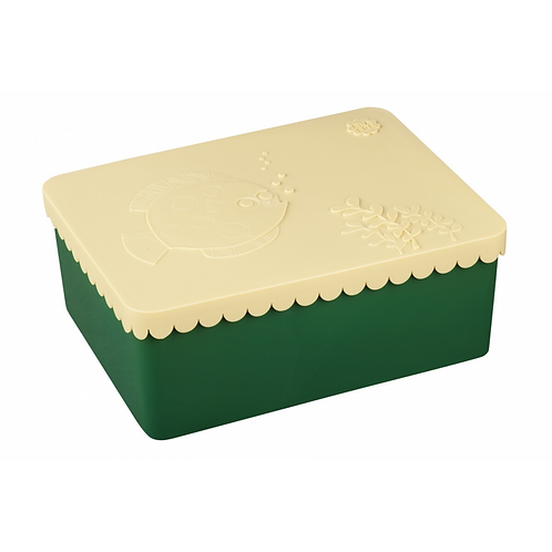 Blafre - Lunch Box with 3 compartments, Sea Life, Beige/Dark Green