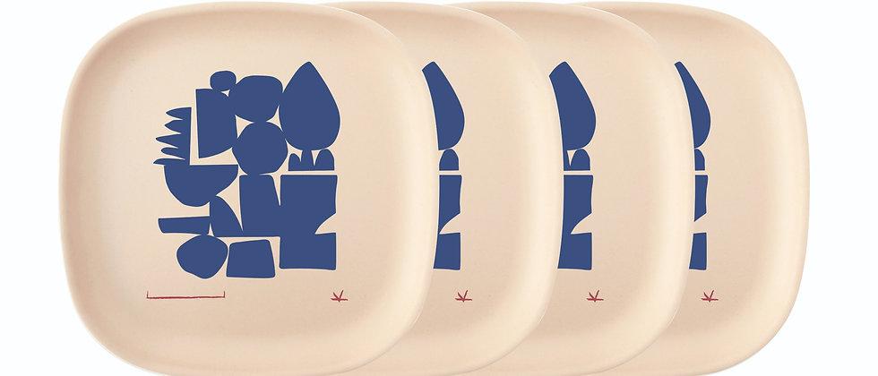 Blue Series Medium Plate Set of 4