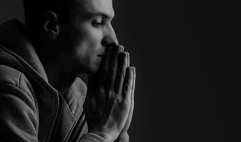 Man praying hands hoping for best. Human