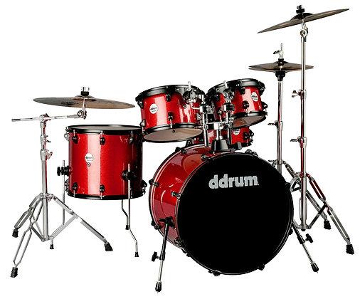 ddrum Journeyman Drum Set - Red Sparkle w Black rims