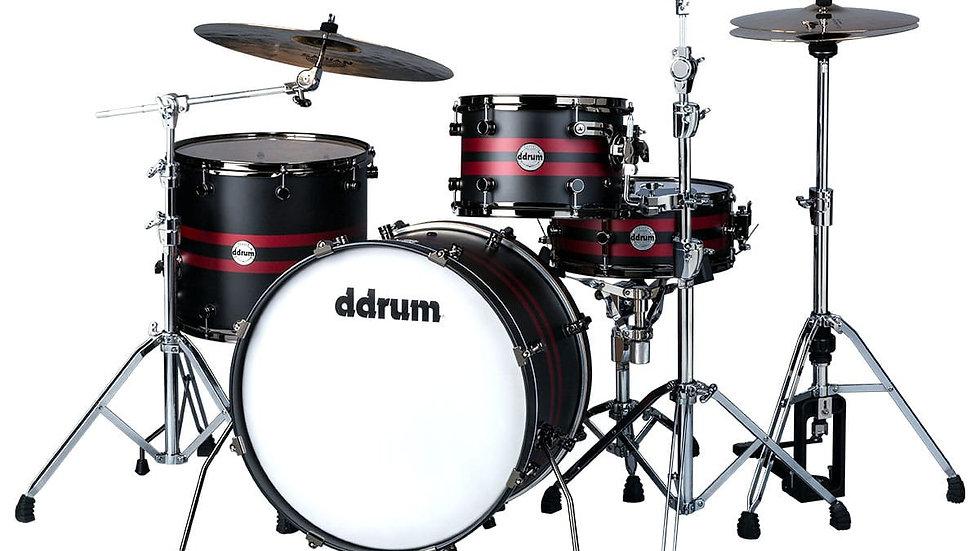 ddrum Reflex Rally Sport Satin Black with Red Stripes 4 Pc Drum Kit