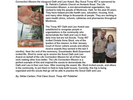 Local Scout Troop Gives Inaugural Oath and Law Award