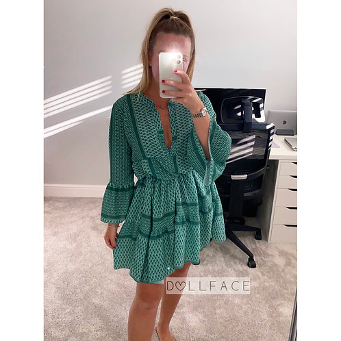 Jade Green Aztec Dress