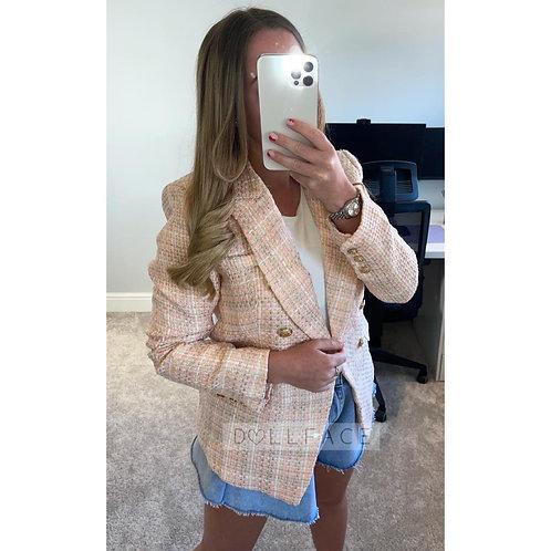 EVIE Peach Tweed Blazer