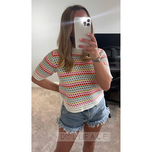 CARLIE Rainbow Knitted Top