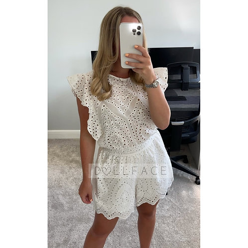 JENNI White Crochet Playsuit
