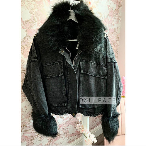 Olivia Black Denim Faux Fur Jacket