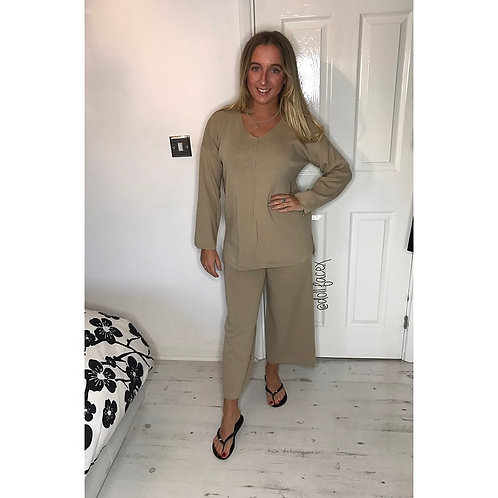 Connie Beige Culotte Loungewear
