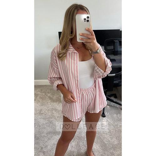 LILY Baby Pink Pinstripe Short Set