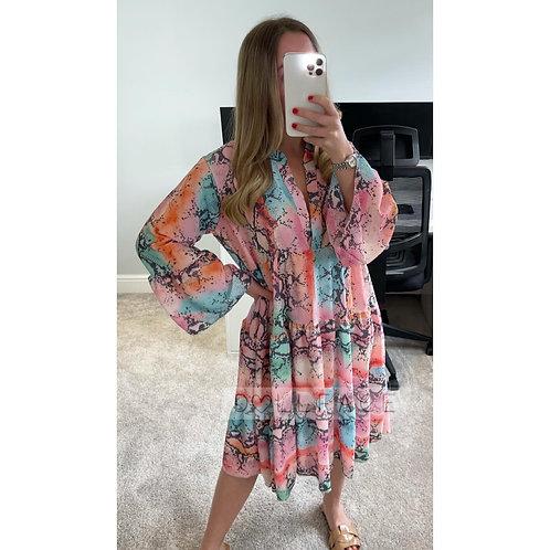 NAOMI Snake Print Pink Frill Dress