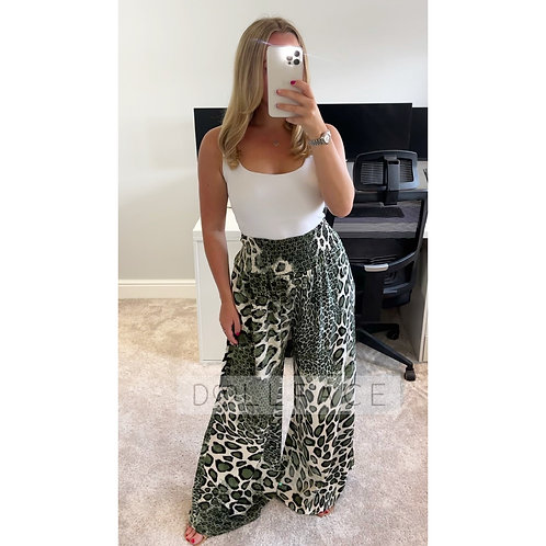 HALLIE Khaki Snakeprint Trousers