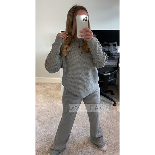 CLAIRE Grey Waffle Loungewear