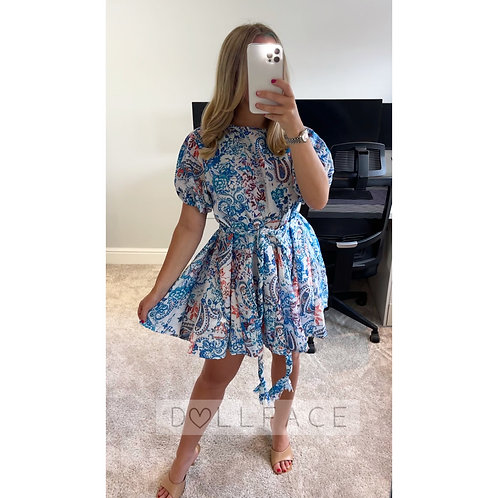 ARIA Blue Paisley Swing Dress