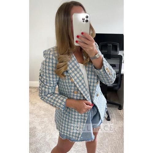 EVIE Blue Patterned Blazer