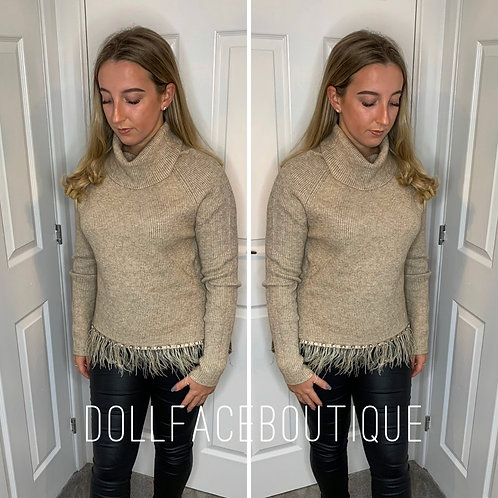 Callie Roll Neck Feather Jumper - 7 Colours