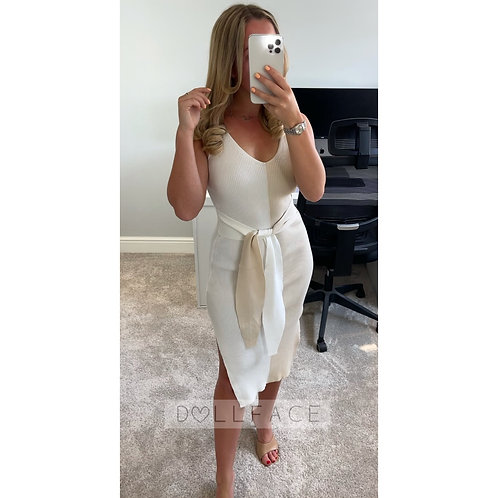 SIENNA Contrast Beige Dress