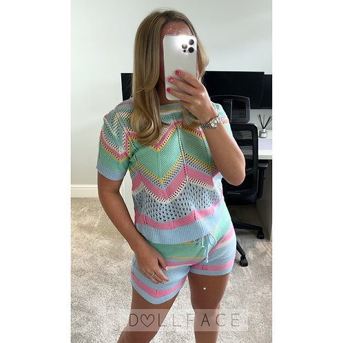 TILLIE Knitted Short Set