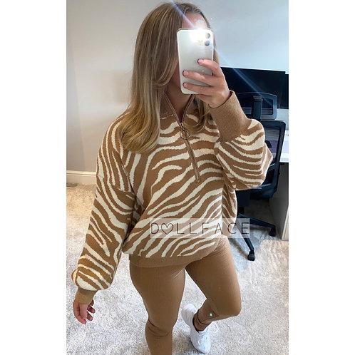 Elsie Zebra Half Zip