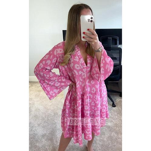 NAOMI Leopard Bright Pink Frill Dress