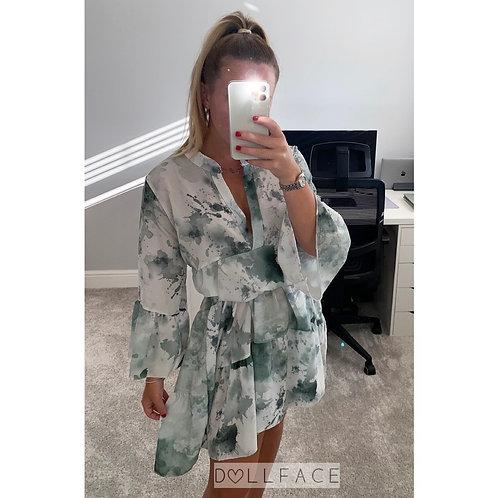 Jade Green Tie Dye Dress