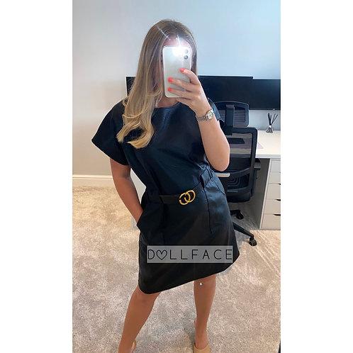 Bonnie Black Faux Leather Belted Dress