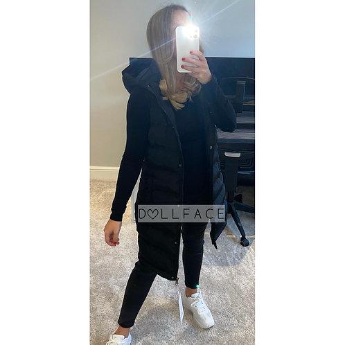 Bella Black Long Gilet